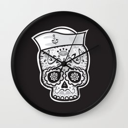 Marinero muerto sugar skull Wall Clock