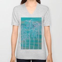 Teal Palm Trees Unisex V-Neck