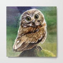 Coffee Owl Metal Print