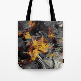 Yellow / Golden Abstract / Surrealist Landscape Painting Tote Bag