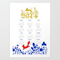 calendar Art Prints featuring 2014 calendar by itsbyrosie