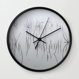 Zen time. Cormorants. Foggy sunrise at the lake. Wall Clock