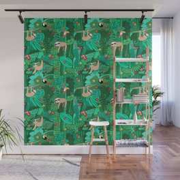 Sloths in the Emerald Jungle Pattern Wall Mural