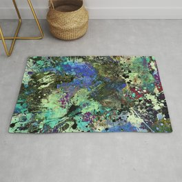 Deep In Thought - Black, blue, purple, white, abstract, acrylic paint splatter artwork Rug