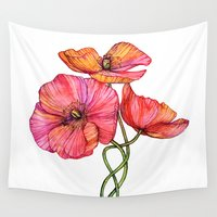 peach Wall Tapestries featuring Peach & Pink Poppy Tangle by micklyn