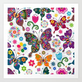 Colorful Butterflies and Flowers V3 Art Print