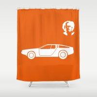 delorean Shower Curtains featuring DeLorean DMC-12 by Clemens Hellmund