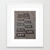 calendar Framed Art Prints featuring Calendar Walk by Ethna Gillespie