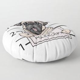mugshot dog cartoon. Floor Pillow