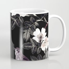 Blackberry Spring Garden Night - Birds and Bees on Black Coffee Mug