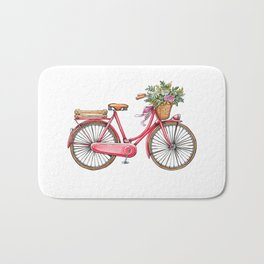 Cute watercolor vintage bike print. Bath Mat