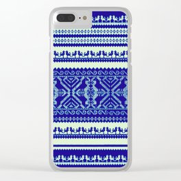 nordic pattern with singing birds in blue Clear iPhone Case