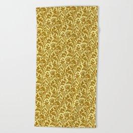 William Morris Thistle Damask in Mustard Gold Beach Towel