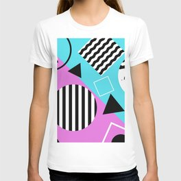Stripes And Splats 1 - Wacky, Random, Abstract, Black And White Stripes, Blue and pink Artwork T-shirt