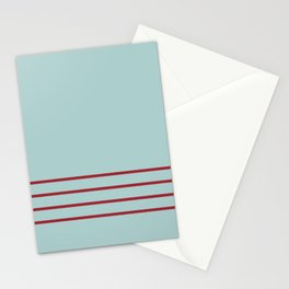 Pastel Blue and Red Thin 4 Stripe Pattern 2021 Color of the Year Satin Paprika and Serenity Blue  Stationery Cards