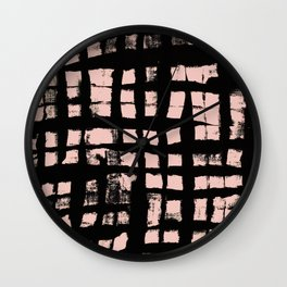 Check - abstract painted pattern black checker contrasting peach Wall Clock