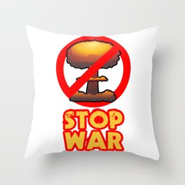 STOP WAR No Bomb Sign Throw Pillow
