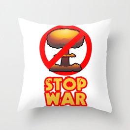 STOP WAR No Bomb Sign Throw Pillow