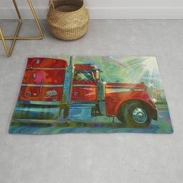 The Trucker - Red Lorry Artwork Rug