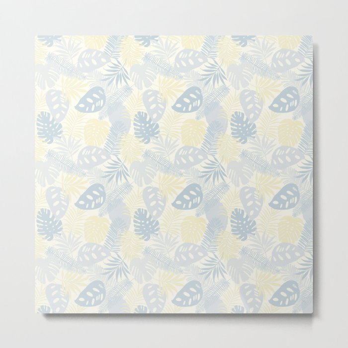 Tropical Leaves Pattern Yellow And Grey Metal Print