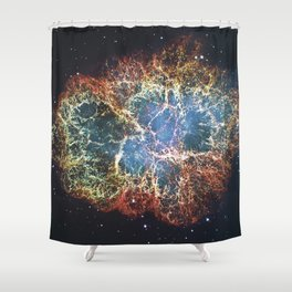 Crab Nebula in constellation Taurus. Supernova Core pulsar neutron star. Shower Curtain