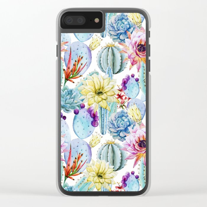 Cactus Pattern 11 Clear iPhone Case