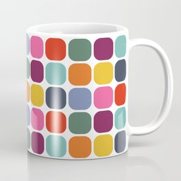 Colorful Mid Century Modern Rounded Square Tile Pattern Coffee Mug