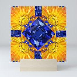 BLUE SAPPHIRES GEM ART & GOLDEN MUMS Mini Art Print