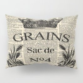 dictionary print rustic shabby french country wheat wreath Pillow Sham