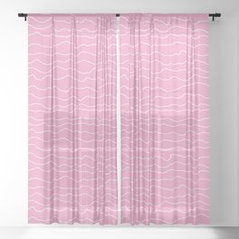 Pink with White Squiggly Lines Sheer Curtain