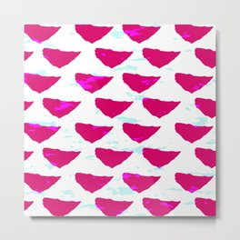 Geometrical abstract neon pink teal watercolor pattern Metal Print
