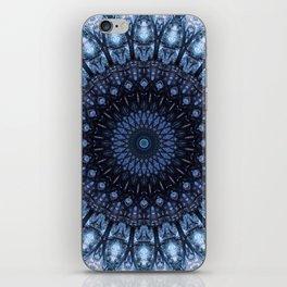 Dark and light blue mandala iPhone Skin