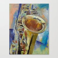 saxophone Canvas Prints featuring Saxophone by Michael Creese