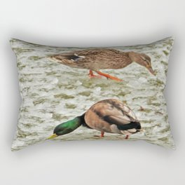 """""""Where's the pond?"""" - Frozen pond confuses the ducks Rectangular Pillow"""