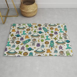 Outer Space Illustration, Aliens and Spaceships, Rocket ship, Planets and Stars, Little Boy Rug
