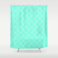 moroccan Shower Curtains featuring Mint Moroccan by Beautiful Homes