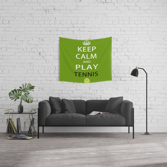 Keep Calm and Play Tennis Wall Tapestry