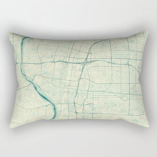 Albuquerque Map Blue Vintage Rectangular Pillow