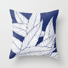 SUMMERTIME (Leaves on blue) Throw Pillow