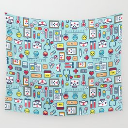 Proud To Be a Nurse Pattern / Blue Wall Tapestry