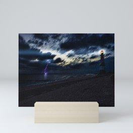 Twilight Lightning and Lighthouse Landscape by Jeanpaul Ferro Mini Art Print