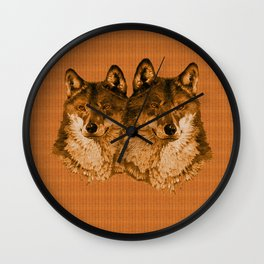 Season of the Wolf - Duet in Gold Wall Clock