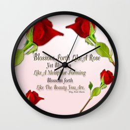 Red, Rose And pink With Quote Wall Clock