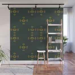 Mothers Day Pine Green and Gold Traditional Indian Lotus Flower Mandala Wall Mural