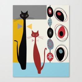 Mid-Century Modern Art Cats Canvas Print