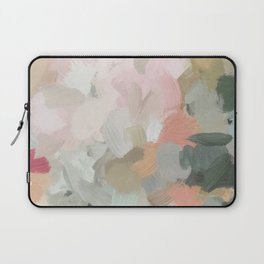 Forest Green Fuchsia Blush Pink Abstract Flower Spring Painting Art Laptop Sleeve