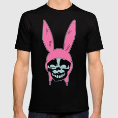 Grey Rabbit/Pink Ears Mens Fitted Tee Black LARGE