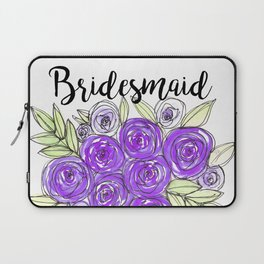 Bridesmaid Wedding Bridal Purple Violet Lavender Roses Watercolor Laptop Sleeve