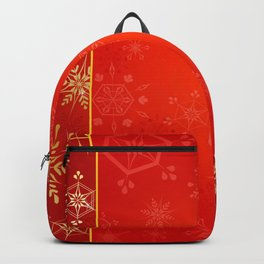 Christmas Gold Snowflakes on Red Background Backpack