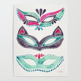 Masquerade Mask Trio – Pink & Mint Palette Poster